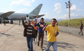 Em abril, venezuelanos desembarcaram em São Paulo no primeiro processo de interiorização apoiado por agências da ONU – Foto: Reynesson Damasceno/ACNUR